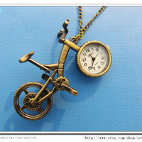 Fashion  Steampunk  Adjustable Vintage antique Pocket Watch Necklace Cool Necklace Bycle Necklace B25