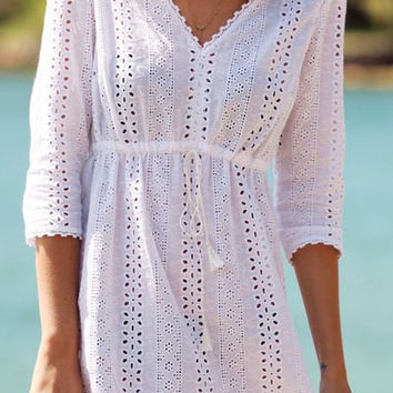 White Cut Out V-Neck Dress