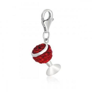 ac NOVQ2A Sterling Silver Wine Glass Charm with Red Tone Crystal Accents