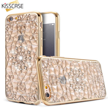 Kisscase lujo soft tpu teléfono case para iphone 7 6 s 6 case moda bling del diamante cristalino de shell coque para iphone 6 6s plus case