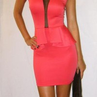 Coral & Mesh Peplum dress