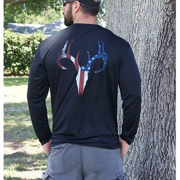 Distressed American Flag Deer Skull Black UPF Long Sleeve Shirt