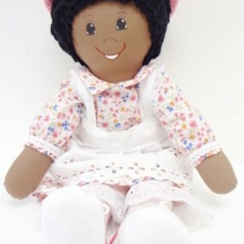 African American, black chain loop curls, pink dress, pink shoes,  cloth rag doll, hand made rag dolls, rag doll handmade, ragdoll NF152