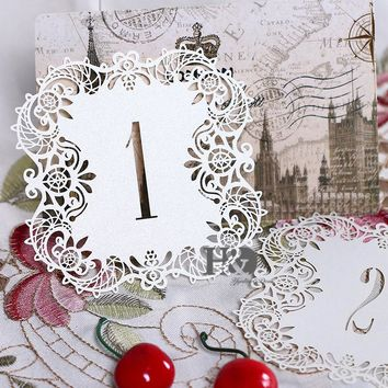 10pcs/set Ivory Hollow Lace Table Number Table Cards from 1 to 10 Rustic Wedding Centerpieces Decor Vintage Wedding Decoration