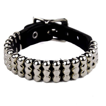 3-Row Small Round Stud Quality Leather Wristband Bracelet