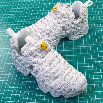 Vetements X Reebok 2018 Instapump Fury Og White All Logo Sneakers - Sale