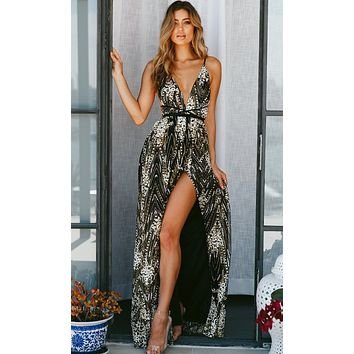 Breaking Barriers Black Sequin Embroidery Geometric Pattern Sleeveless Spaghetti Strap Plunge V Neck Backless Maxi Dress