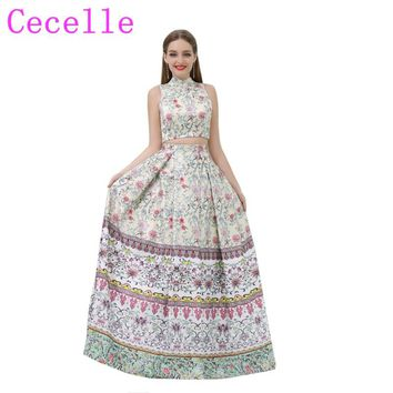 2018 New Floral Print Long A-line 2 Pieces Prom Dresses High Neck Sleeveless Vintage Colorful Prom Party Gowns Custom Made Sale