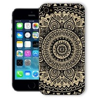 ChiChiC Iphone Case, i phone 5g 5 5s case, Iphone5 Iphone5s covers, plastic cases back cover skin protector,geometric black mandala wood grain