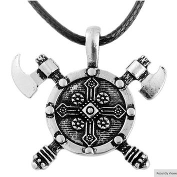 Norse Viking Barbarian Gladiator Medieval Double Axe Shield Pewter Pendant Necklace