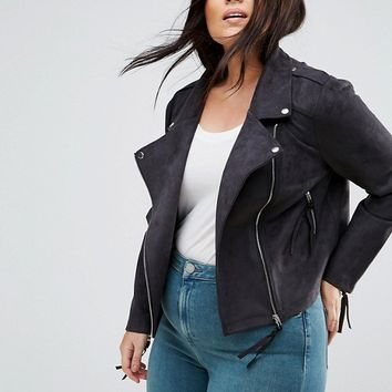Missguided Plus Faux Suede Biker Jacket at asos.com