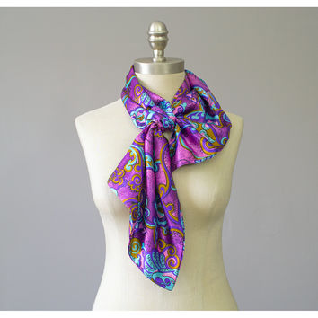 60s Mod Scarf / 1960s Psychedelic Print Paisley Floral Satin Ascot Neck Scarf / Pink Purple Gold Aqua