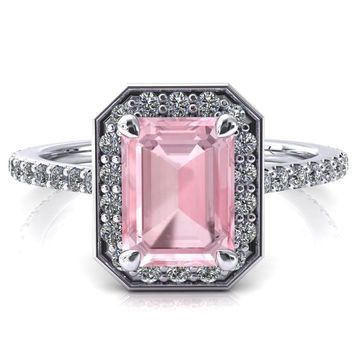 Valma Emerald Pink Sapphire Floating Diamond Halo and Sides Ring