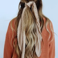 Between You & Me Hair Scarf: Dusty Taupe