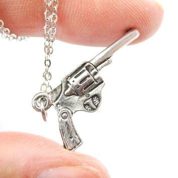 Detailed Gun Pistol Revolver Shaped Charm Necklace in Silver | MADE IN USA
