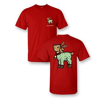 Sassy Frass Goat in Pajamas Christmas Girlie Bright T Shirt
