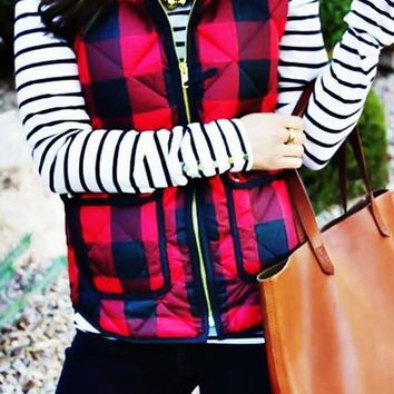 Red Plaid Zipper Pockets Turndown Collar Casual Cute Vest