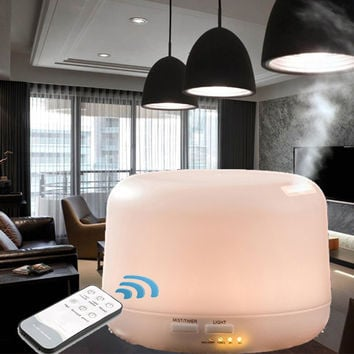 300ml warm one Color LED Light Essential Oil Aroma Diffuser Ultrasonic Air Humidifier Remote Control Mist Maker Home & Bedroom