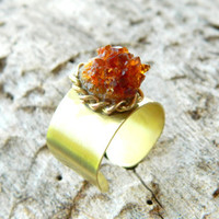 Mustard Crystal Citrine Gemstone Gold Ring