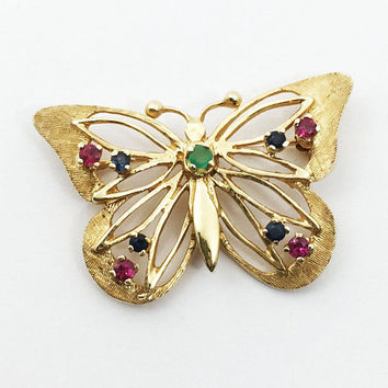 14K Gold Gemstone Butterfly Pin Cut Out Wings Vintage 14 Karat Gold Figural Brooch Signed AL Spring Summer Pink Green Blue Gemstones