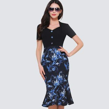 Summer Vintage Floral Print Sheath Fitted Business Bodycon Dress Women Elegant Button Formal Mermaid Party Dress HB376