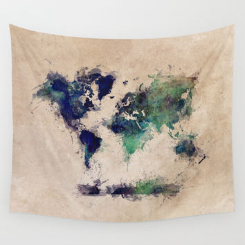 World Map splash raf Wall Tapestry by Jbjart | Society6