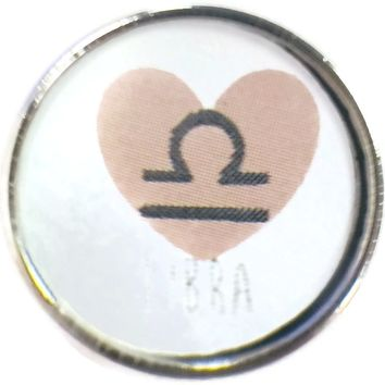 Libra Heart Zodiac Horoscope Symbol 18MM - 20MM Charm for Snap Jewelry New Item