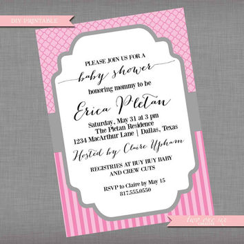 Classic  Quatrefoil and Stripes Baby Shower Invitation - Printable Custom Baby Shower Invitation