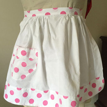 Pink and White Polka Dot Half Apron, Vintage Apron, Kitchen Dining, Retro Apron, Cottage Farmhouse Apron, 2 Available, Sold Separately