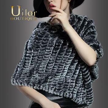 Uilor Women's Imported  Real Knitted Rabbit Fur Poncho Wrap Scarves Women Natural Rabbit fur Shawl Triangle Cape 25013