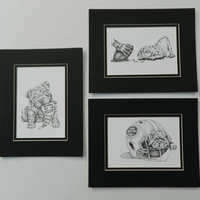 Bulldog Puppies Sports Collection. Set of 3 Football Themed Nursery Art or Home Decor.