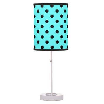 Cute Black & Aqua Polka Dot Lamp