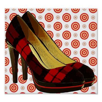 Red Checker High Heels Shoes polka dots art Poster