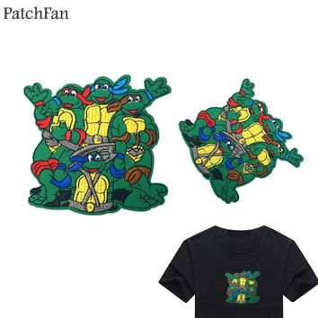 Patchfan Ninja turtle Cartoon Iron on Patches Clothing para diy Embroidered badges Sewing Applique Patchworks stickers A0750