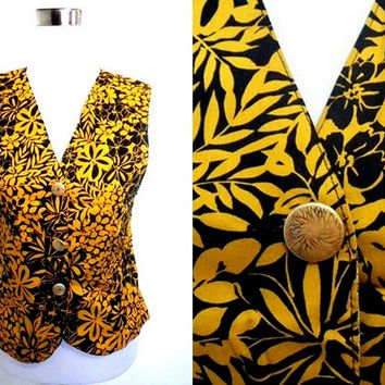 Autumn / Fall Sale: black and yellow floral vest (small)