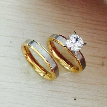 316Ltitanium Steel CZ dia Korean Couple Rings Set for Men Women Engagement Lovers, his and hers promise couple rings
