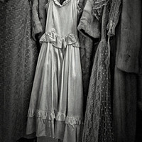 Date Night fine art photography - vintage clothing antique mall, yesterday's fashion, black and white image