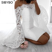 Sibybo Off Shoulder Flare Sleeve Lace Dress Women Slash Neck Long Sleeve Sheath Elegant Party Dress Cotton Sexy Bodycon Dress