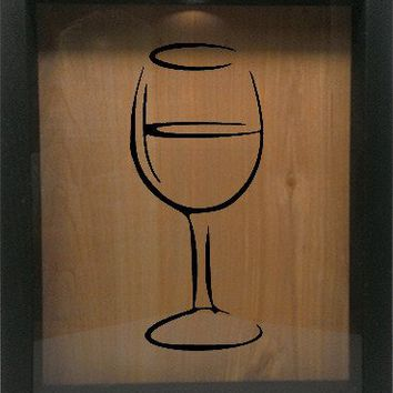 "Wooden Shadow Box Wine Cork/Bottle Cap Holder 9""x11"" - Wine Glass Silhouette"