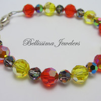 Bright Colored Swarovski Crystal Bracelet, Festive Red, Vibrant Yellow and Deep Brown