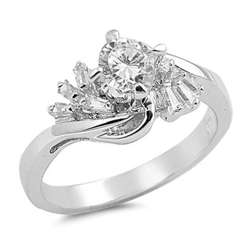 Sterling Silver Round Cubic Zirconia Ring with Baguette Twist