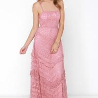 Beneath the Garden Arbor Dusty Rose Lace Maxi Dress