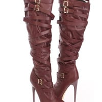 Burgundy High Heel Shoes