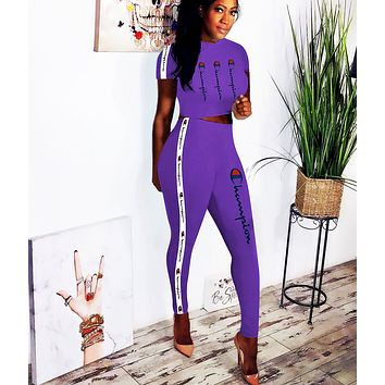 Champion Fashion New More Letter Print String Mark Sports Top And Pants Two Piece Suit Purple