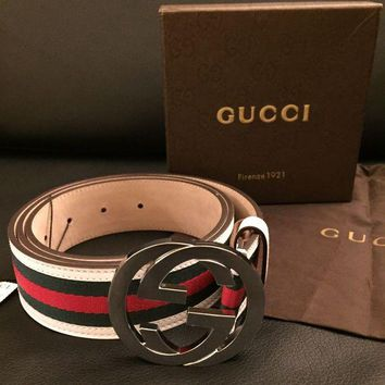 GUCCI Trending Women Men Red Green Smooth Buckle Leather Belt I
