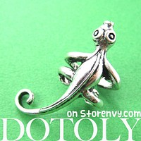 Iguana Chameleon Lizard Realistic Animal Wrap Small Ear Cuff in Silver