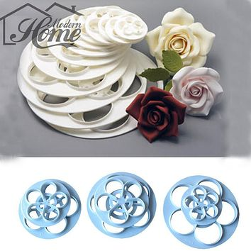 6Pcs/Set Fondant Cake Sugar Craft Rose Flower Decorating Cookie Mold Gum Paste Cutter Tool Baking Mold Cake Decorating Tools
