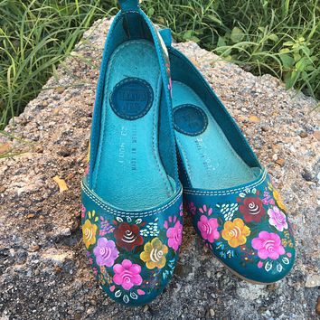 Leather Flats Handpainted