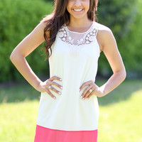 Keep it Simple Dress - Ivory and Coral