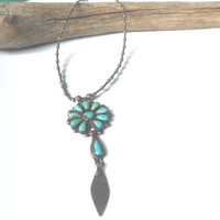 Old Pawn Zuni Necklace, Petit Point Turquoise Pendant, Native American Sterling Silver Navajo Jewelry